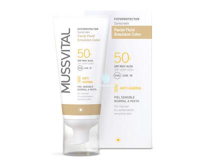 Fluido Facial con Color y Protección Solar 50 Mussvital