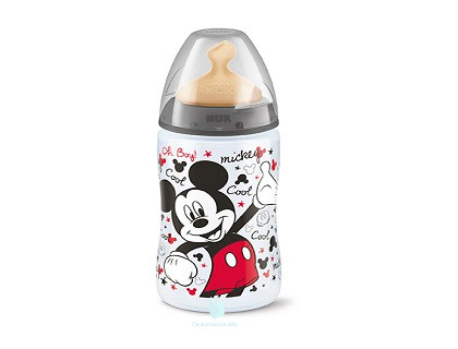 Biberón NUK Anticólicos 0-6 meses latex orificio mediano Mickey 300 ml