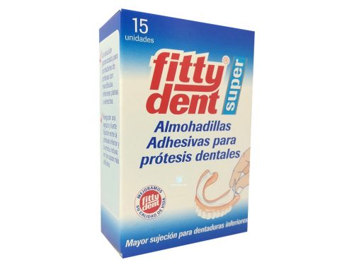 Almohadillas Adhesivas para Prótesis Dentales Fitty dent super 15 unidades