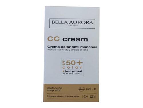 Crema con color CC Antimanchas con protección Spf 50+ Piel sensible Bella Aurora