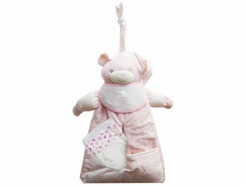 Guarda Pañales rosa con forma de oso de tacto aterciopelado