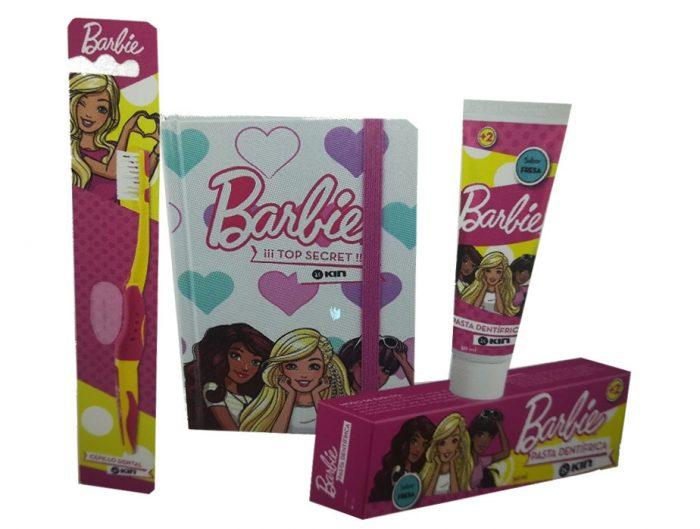 Pack dental infantil barbie Kin pasta, cepillo + libreta de regalo