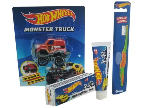 Pack dental infantil barbie Kin pasta, cepillo + coche Monster Truck de regalo