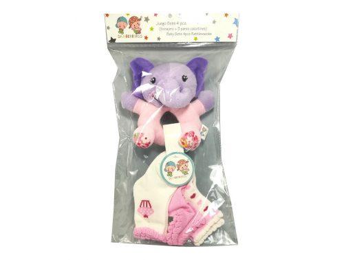 Sonajero con 3 pares de calcetines elefante rosa