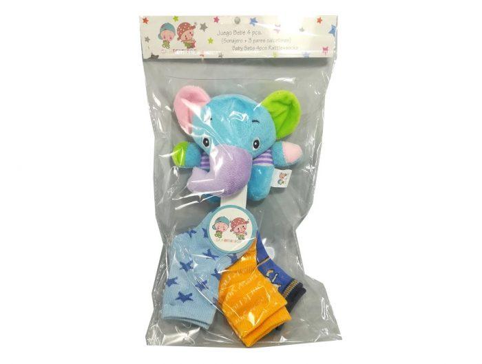 Sonajero con 3 pares de calcetines elefante azul