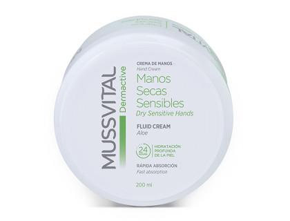 Crema de manos con aloe vera Mussvital pieles secas y sensibles 200 ml
